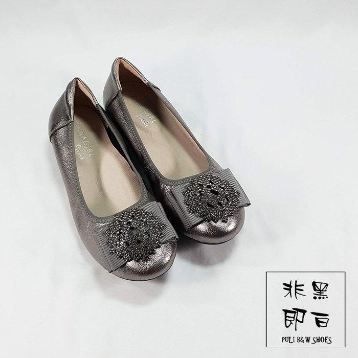 【非黑即白】2019冬季冰晶專櫃真皮女娃娃鞋 平底鞋 低跟鞋 楔型鞋 銀槍色 328875