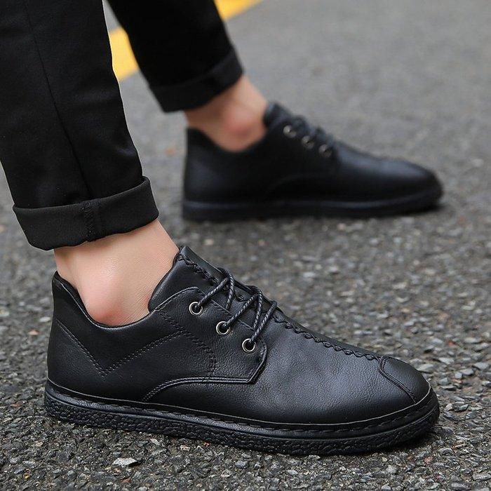 春季系帶全黑色皮鞋男鞋子防水防滑廚師工作鞋板鞋防雨上班小黑鞋