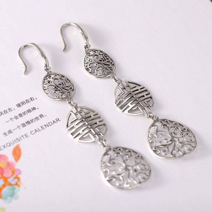 【秘密款】女士純銀飾品小黑銀飾批發長款耳環鏤空花紋名族風雙喜泰銀