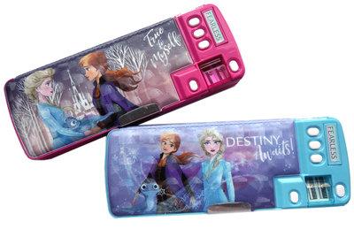 【卡漫迷】 冰雪奇緣 多功能 筆盒 雷射 二款選一 ㊣版 鉛筆盒 Frozen 艾莎安娜 雪寶 削鉛筆機 置物盒 放大鏡