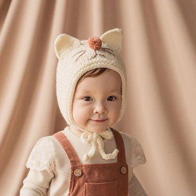 帽子 嬰幼兒 貓咪 造型 綁帶 保暖 護耳帽