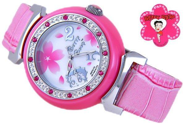 @(六四三精品)@BETTY BOOP(真品)波麗錶框.貝蒂及花錶面.粉紅錶帶