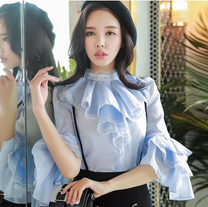 七分長袖襯衫水藍色小立領荷葉邊圓領喇叭七分袖襯衫許願魔鏡@wishing Mirror-*-D17AST047