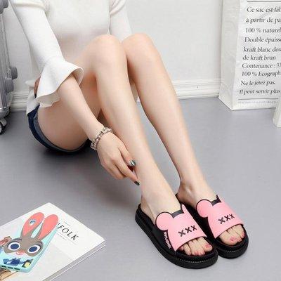 新款涼拖鞋女夏增高厚底可愛家居家室內平跟軟底防滑浴池拖鞋