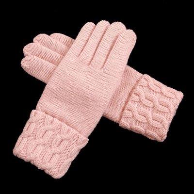 手套 保暖冬季新款女式雙層加厚羊毛手套甜美簡約毛線保暖手套