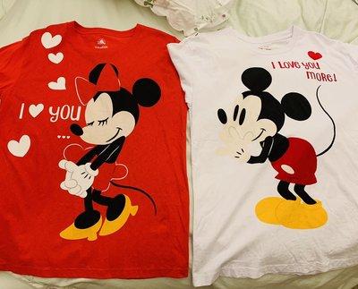 現貨香港迪士尼樂園 2019情人節米奇米妮 情侶款卡通成人短袖純棉T恤 兩件ㄧ組