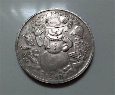 1988 聖誕 耶誕 雪人 1 oz 999 純銀 特製 紀念 銀幣
