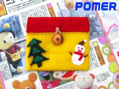~POMER~ 可愛雜貨小店 獨一無二純 手作 古著療癒童趣雪人聖誕樹鮮艷黃X紅 證件卡片收納包 萬用包 零錢包