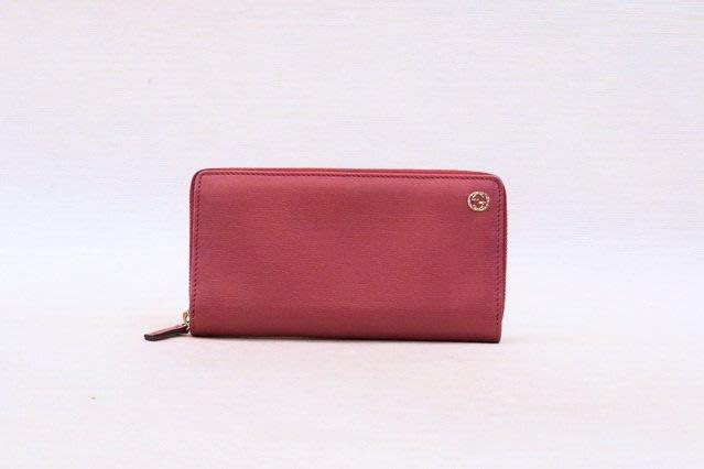 【遠麗】台北大安店~A8860 gucci玫瑰粉色淡金釦ㄇ拉長夾 真品/正品