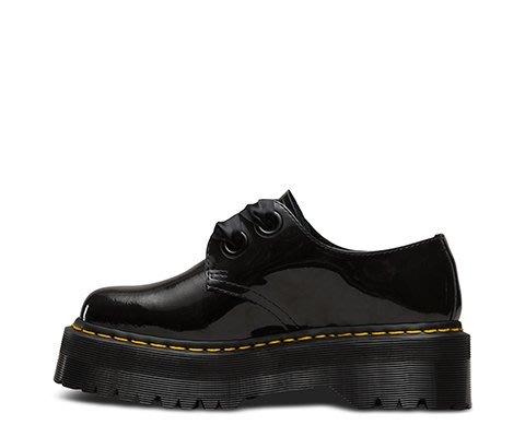 dr martens holly patent 黑色漆皮緞
