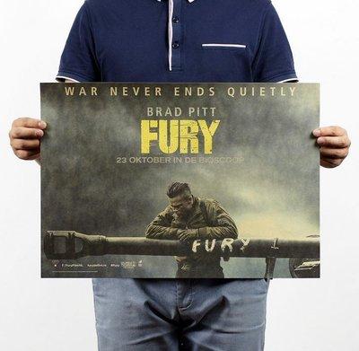 【貼貼屋】FURY 怒火特攻隊 布萊德彼特 牛皮紙 海報 壁貼 電影海報 516