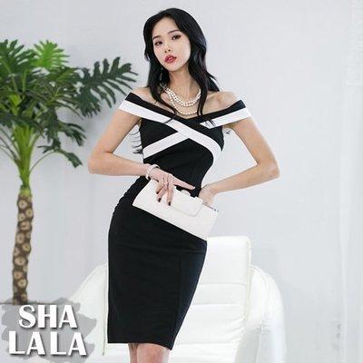 SHA LA LA 莎菈菈 韓版性感黑白拼接交叉露肩修身包臀連衣裙洋裝(S~XL)2019031504預購款
