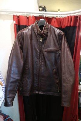 [ Satisfaction ] Schott 641棕色騎士立領Vintage牛皮皮衣 Made in USA