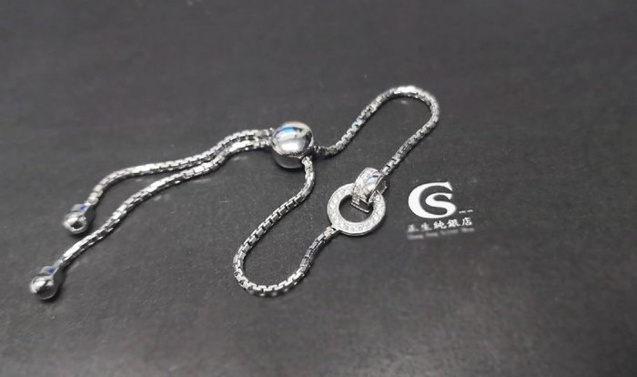 香港正生銀飾~現貨 滿鑽圈圈釦活口手鏈(玫瑰金/銀色)