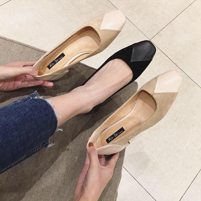 方頭單鞋女粗跟新款韓版春季女鞋淺口中跟瑪麗珍鞋高跟鞋子女