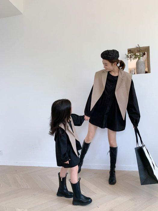 🙋2件組✨母女裝 親子裝 西裝披肩 襯衫裙 女生 襯衫 女童洋裝 兒童 洋裝 長袖 連身裙 西裝 白色黑色 韓國款