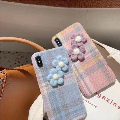 ☆韓元素╭☆Mobile-Style 花朵造型 iPhone 11 Pro Max 保護套 6.5吋 硬式絨布殼 格紋