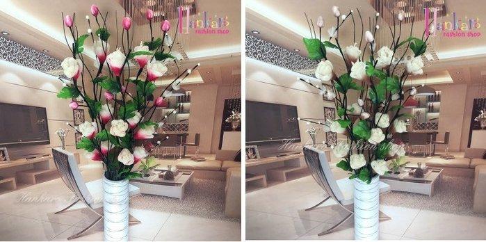 ☆[Hankaro]☆ 浪漫花藝仿真牡丹花束乾燥藤枝束落地型花藝含花瓶