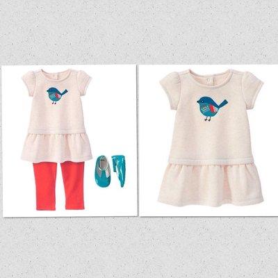 美國GYMBOREE正品 新款 Birdy Dress 小鳥連身裙洋裝12~18m.18~24m...售490元(厚款)