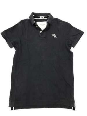 Abercrombie and Fitch A&F 男生短袖polo深藍色網眼polo衫 M號 二手正品 極新 九成九新