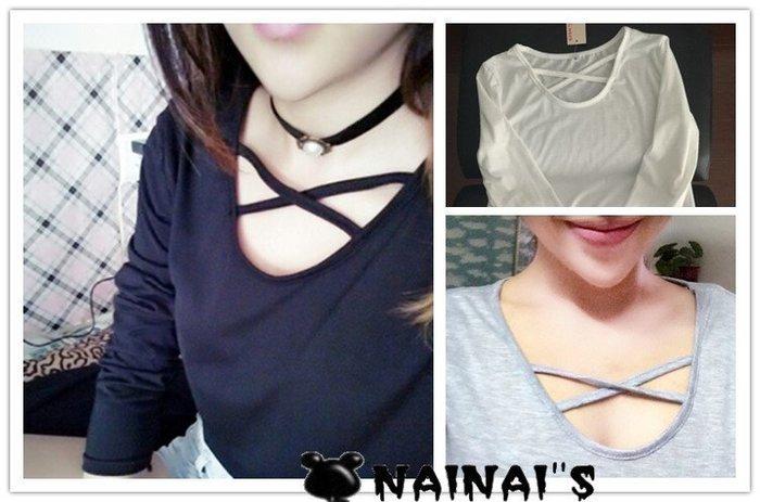 【NAINAIS】YY 2247 韓版 特殊胸前交叉造型U領寬鬆薄款長袖T恤 3色 預