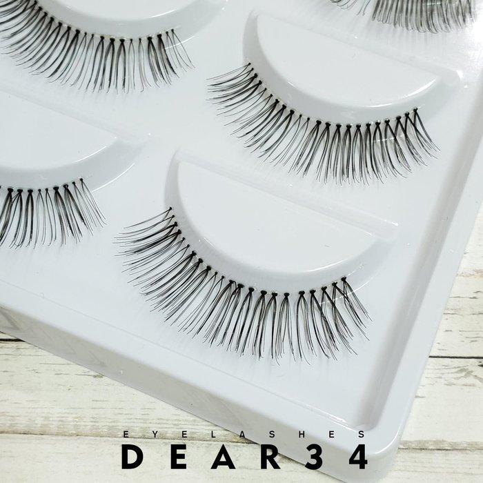 《Dear34》PR05J透明梗黑棕相間自然根根分明眼中長純手工編織假睫毛一盒五對入