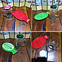 全新 點心杯盤組 陶瓷薯條盤+多用途玻璃杯罐(含蓋)  餐具組合/櫻桃紅,綠色 - 4297