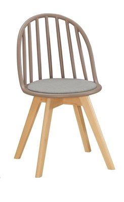 【風禾家具】FQM-1069-5@EDS棕色布餐椅【台中1700送到家】書椅 耐衝擊PP材質 實木腳座 北歐風 傢俱