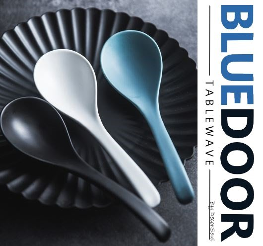 BlueD_ 平光 陶瓷 盤子 大湯匙 湯勺 湯瓢 防滑磨砂 三色 北歐風 創意質感 設計 裝潢 新居入遷 送禮物 餐具