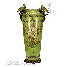 【芮洛蔓  La Romance】 美國 Castilian純銅陶瓷手繪花鳥綠色高筒形花器 / 花瓶 / 擺飾