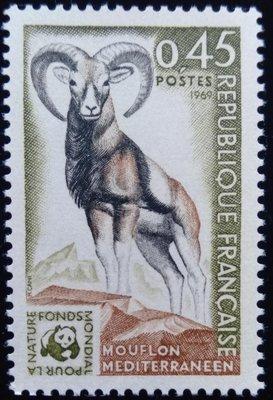 WWF(W1)法國郵票地中海摩倫羊瀕臨絕種動物郵票1969年10 月11日發行特價