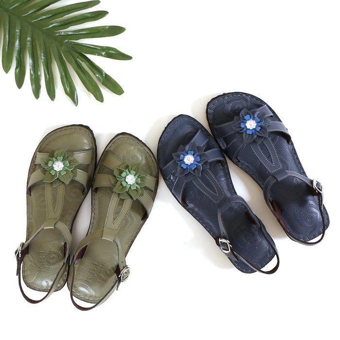 涼鞋 手縫真皮花飾淑女涼鞋  柔軟100% 每一步都Q彈 氣墊鞋墊 MIT台灣手工鞋 丹妮鞋屋