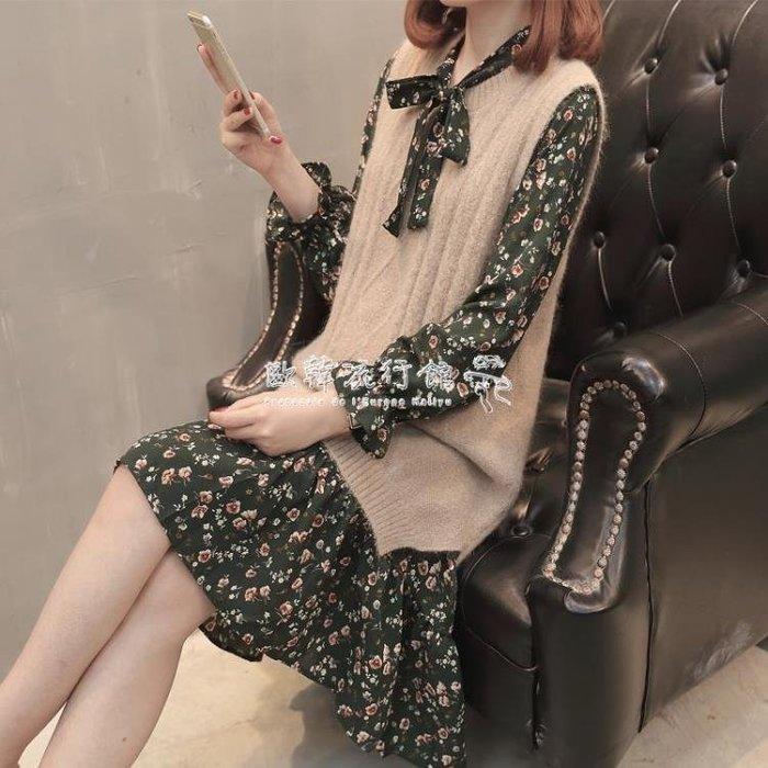 女時尚套裝針織毛衣馬甲背心裙兩件套韓版寬鬆毛衣裙