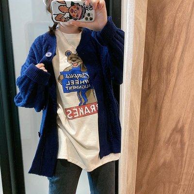 特韓國東大門代購女裝2020秋冬新款寬松大碼中長款卡通厚短袖T恤