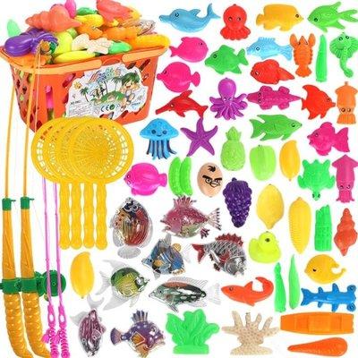 兒童釣魚玩具戲水磁性益智釣魚池套裝小貓釣魚竿寶寶智力1-2-3歲第