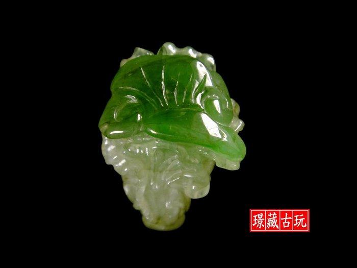 ﹣﹦≡|璟藏古玩|天然A貨翡翠冰種帶陽綠巧雕翠玉白菜掛飾玉珮(保證天然A貨翡翠如假全額退費)∥(直購價,只給第一標)∥≡