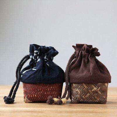 ₴金凱悅㍐竹編茶杯籠收納籠便攜束口布袋手工日式禪意功夫茶道配件