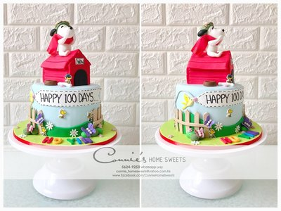 【Connie's Home Sweets】Snoopy 100 days cake 史努比百日宴蛋糕 Tailor Made Cake 可自訂主題 3D蛋糕