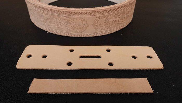 皮帶 連接皮片  皮圈  植鞣原色皮  有買皮帶才能加購此商品