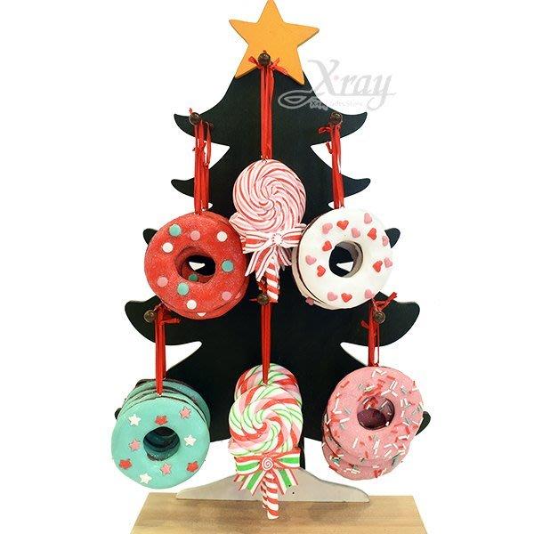 節慶王【X018015】陶製甜甜圈吊飾(4款-隨機出貨),聖誕節/掛飾/陶器/手作/吊飾/裝飾/擺飾/交換禮物/道具