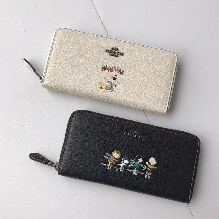 【小怡代購】 全新COACH 16122 美國正品代購新款史努比聯名系列長款皮夾 個性氣味圖案印花 特惠現貨