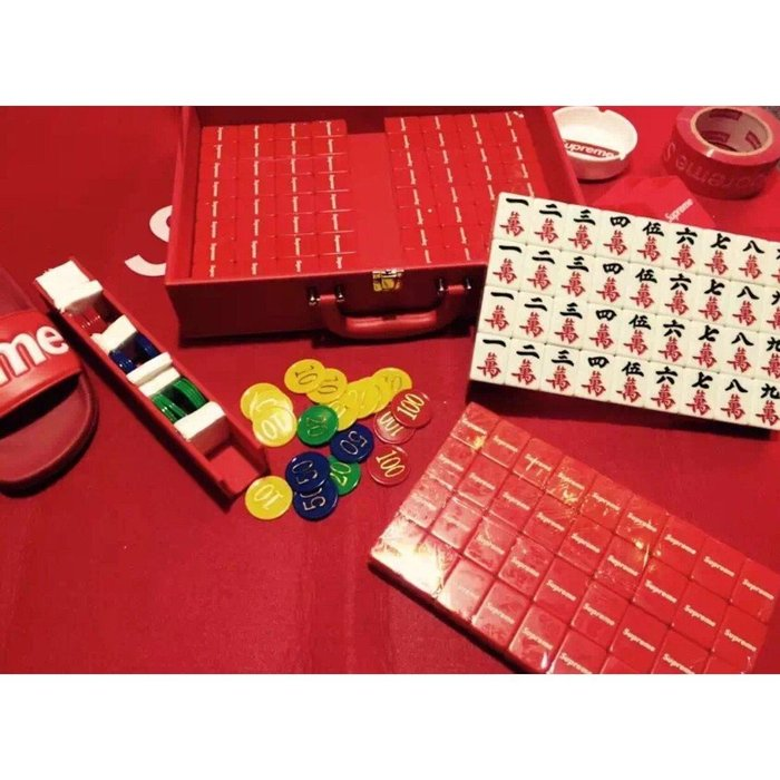 經典紅色潮牌supreme麻將潮人群聚會麻友娛樂家用麻將送人好禮