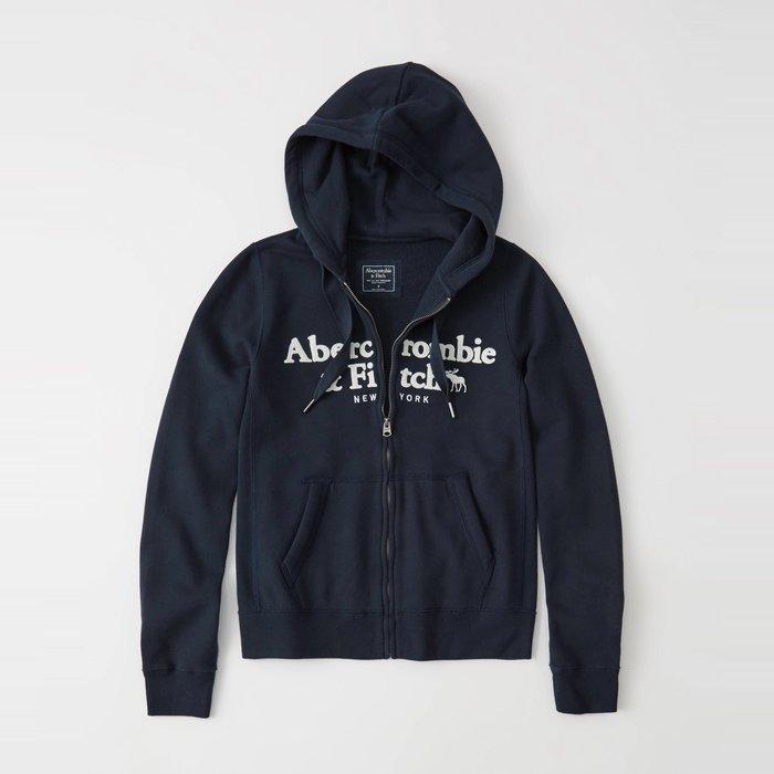 【Abercrombie&Fitch】【A&F】【零碼XL】女款連帽外套雙排白字鹿黑藍 F07190704-40