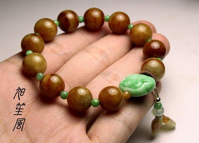 【旭笙風】天然A貨蜜糖黃翡翠 ~ 創意設計手珠