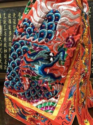 【靜福緣】精緻繡品 『平繡龍袍 鑲珠款 (橘款/件) 』2尺2長 神衣神明衣佛衣多種顏色多種尺寸可選擇