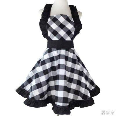 居家家 圍裙新款全棉色織黑白大格子復古薄圍裙廚房煮飯清潔奶茶店防污