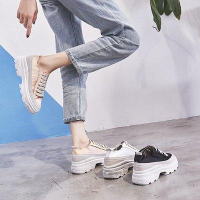 Fashion*小白鞋~百搭網紅ins內增高休閒鞋 港風帆布厚底老爹鞋/跟高6cm 34-39碼『白色 粉色』