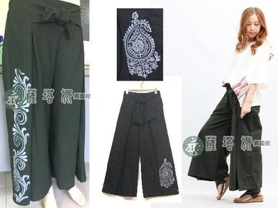 @_薩谷娜 : 獨家泰製_黑佩斯利/綠勾勒/黑勾勒_腰前綁結回摺大寬褲