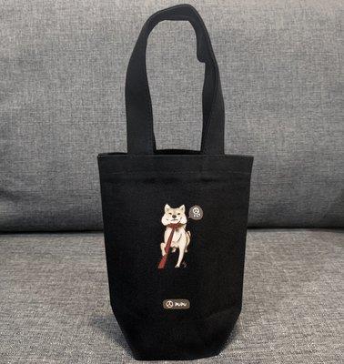 黑色系列《柴犬-拉繩》台灣製棉麻布 杯套 提袋 插畫 柴犬 寵物 聖誕節 / 蒼蠅星球 / 手創市集
