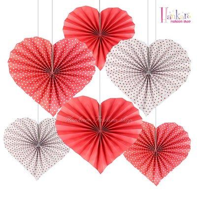 ☆[Hankaro]☆歐美創意婚慶用品派對布置道具愛心造型紙扇裝飾吊飾系列
